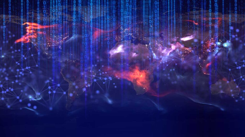 data deep learning, signal of satellite, server hacker privacy online, system futuristic of world of social network global earth map Elements of this image furnished by NASA